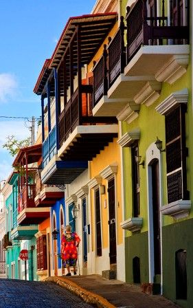 Brightly coloured houses in San Juan Puerto Rico