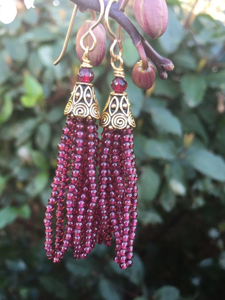 Tassel Earrings - Garnet/Gold