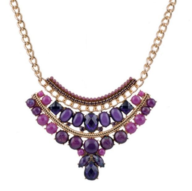 Multi Color Resin Beads Necklace Gold Chain Jewelry For WOMEN PURPLE