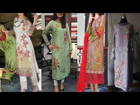 Embroidered Pakistani kurta design ideas for women suit design ideas