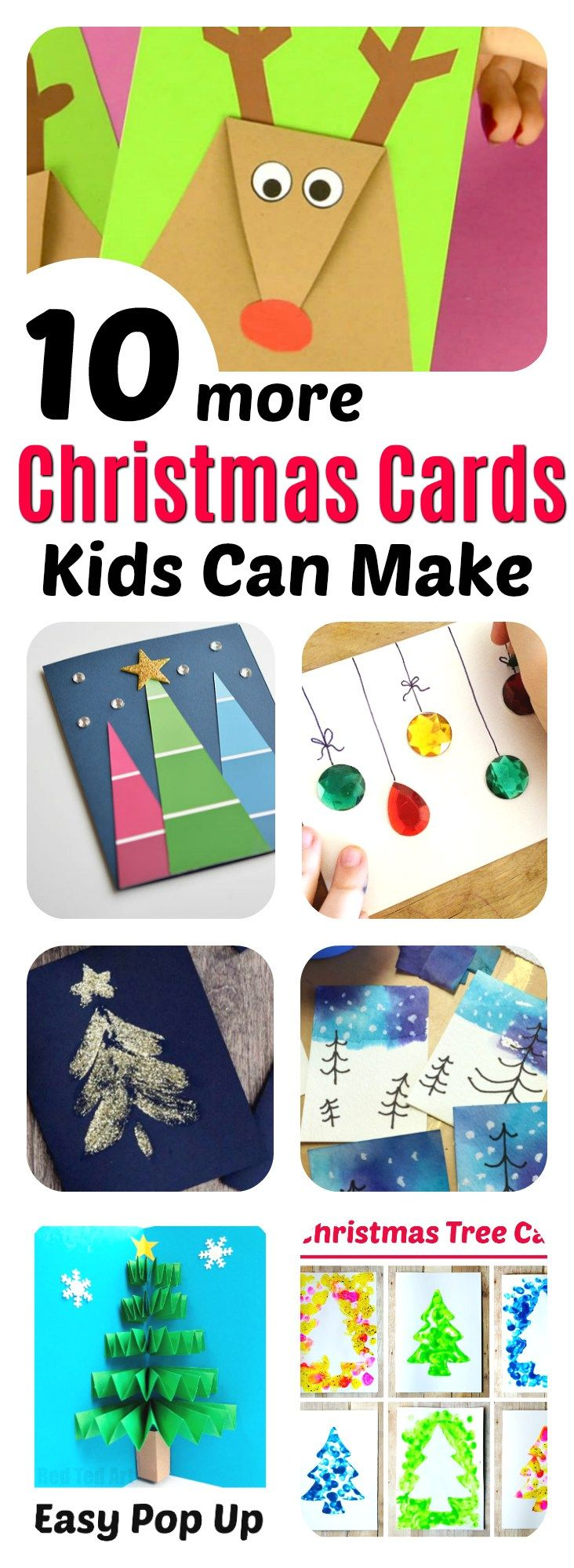10 amazing Christmas cards kids can make for teachers, grandparents and friends! Super easy and very impressive looking! || Christmas Cards Kids Can Make: 10 More Inspiring Ideas! || Another fun Christmas post from Letters from Santa Holiday Blog