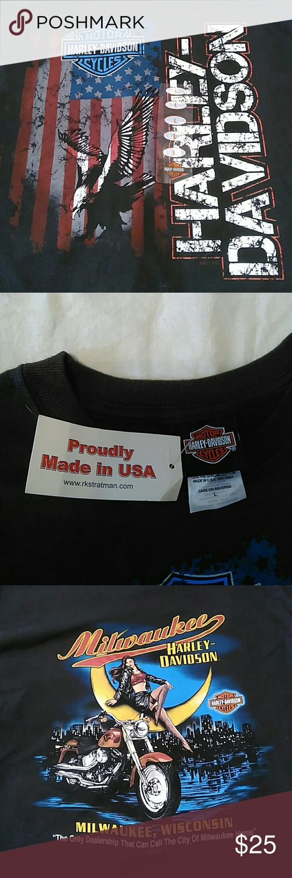 Harley Davidson T-shirt size L Size L Harley Davidson t-shirt, size L from Milwaukee Harley, new. Harley-Davidson Shirts Tees - Short Sleeve
