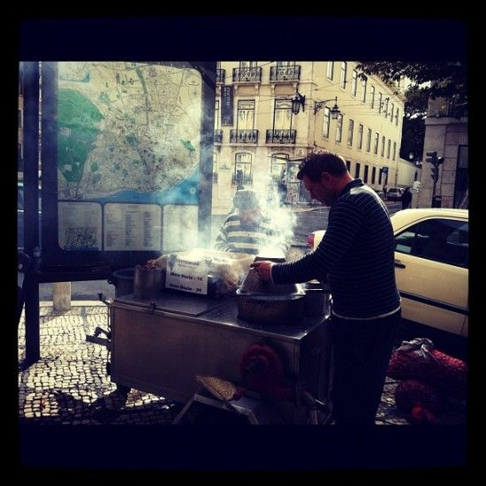 Roasted Chestnuts in Chiado, just outside Hermés - why not?