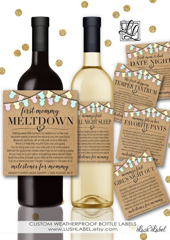 Nice Gifts For Mom Part - 15: Baby Shower New Mom Gift Milestones For Mommy Wine By LushLabel