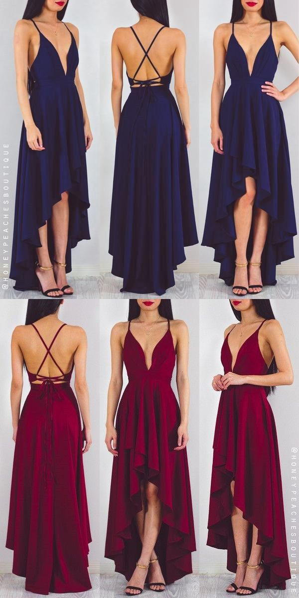 2017 prom dress, long chiffon prom dress, navy blue prom dress, red prom dress, party dress, high low prom dress