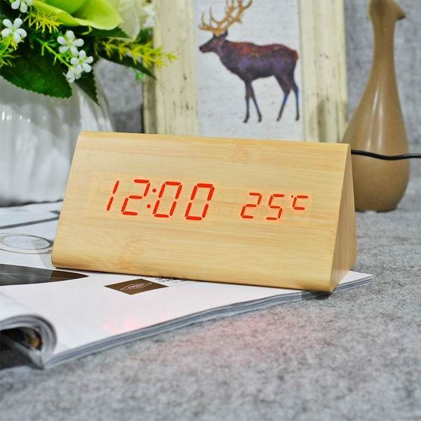 FiBiSonic Wood Digital LED Alarm Clock, Sound Control Wooden Alarm Clock LED Desktop&Table Clock with Temperature