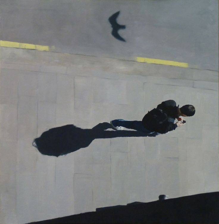 Original is oil on board. High view of a boy sending a message while the shadow of a bird moves past.
