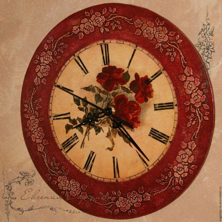 """Купить Часы бордовые """"Розы"""" - бордовый, часы, часы настенные, часы интерьерные"""