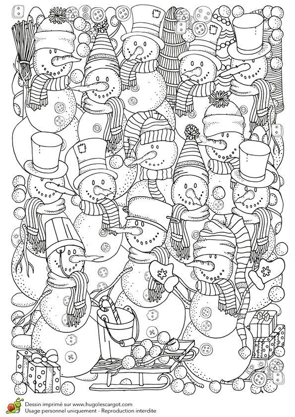 Coloriage et illustration pour un hiver zen, mur de bonhommes de neige. Une supe…