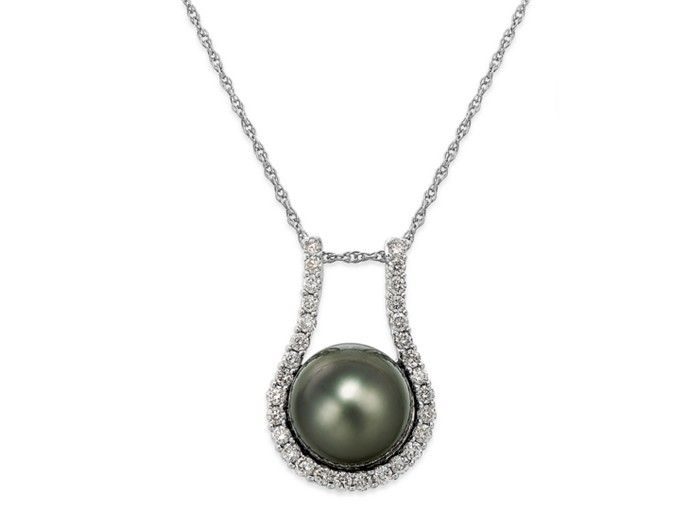 Tahitian Pearl (11mm) and Diamond (5/8 ct. t.w.) Pendant Necklace in 14k White Gold - Necklaces - Jewelry & Watches - Macy's