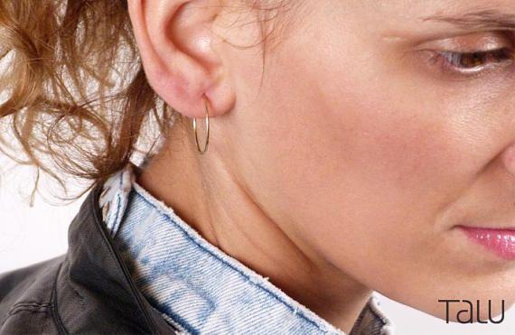 Gold Hoop EarringsSolid Hoop Earrings 14k Solid Gold Simple