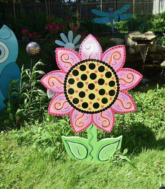 Sunflower Yard Art Stake, Wood Painted Flower Garden Stake, Spring Summer Flower Lawn Stake, Spring Yard Decor, Flower Garden, Yard Sign