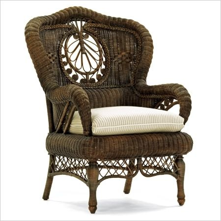 Intricate wicker chair: by Mitchell Gold and Bob Williams