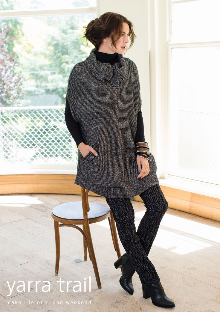 Oversized and super cosy, our Charcoal Poncho is a simple layering piece to carry you throughout the year. A relaxed silhouette, the sleeveless style features 2 front pockets and a collar with placket and button up detailing. Ideal for those chilly winter days, style with a long sleeve tee underneath and jeans to match. http://www.yarratrail.com.au/knitwear/poncho-charcoal-15w7861.html