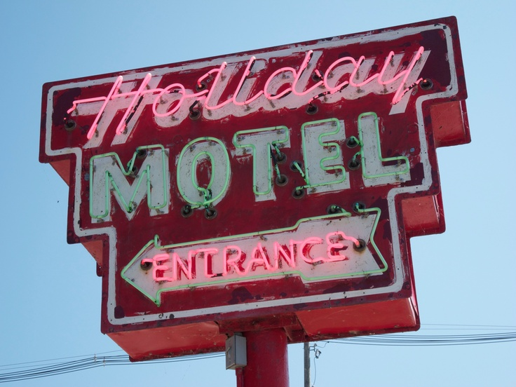 Holiday Motel Entrance (traditional style) sign in Sturgeon Bay, Wisconsin.