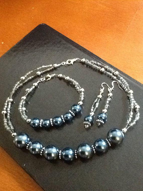 Handmade Beaded Necklace Bracelet and Earring Set by ArtistsDevine, $40.00