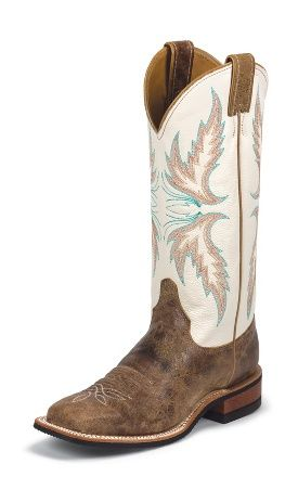 Once you go square toed...you never go back.  Justin Boots #BRL336 TAN PUMA COWHIDE