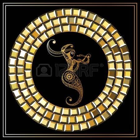 Decorative zodiac sign Ophiuchus. Horoscope and astrology (astronomy)-symbol. Vector illustration. photo