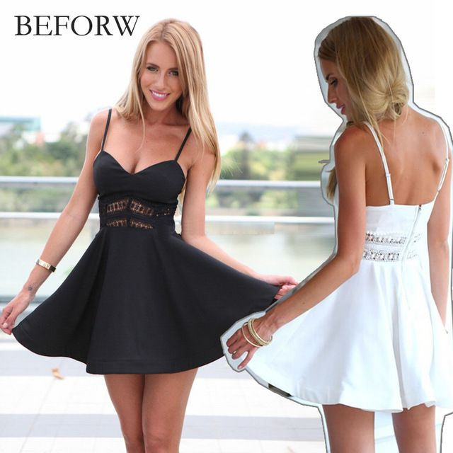 Sale Price $7.91, Buy BEFORW Summer Stitching Lace Halter Suspenders Big Swing Party Dress Women Casual V Neck Beach Dress Sleeveless Mini Dress