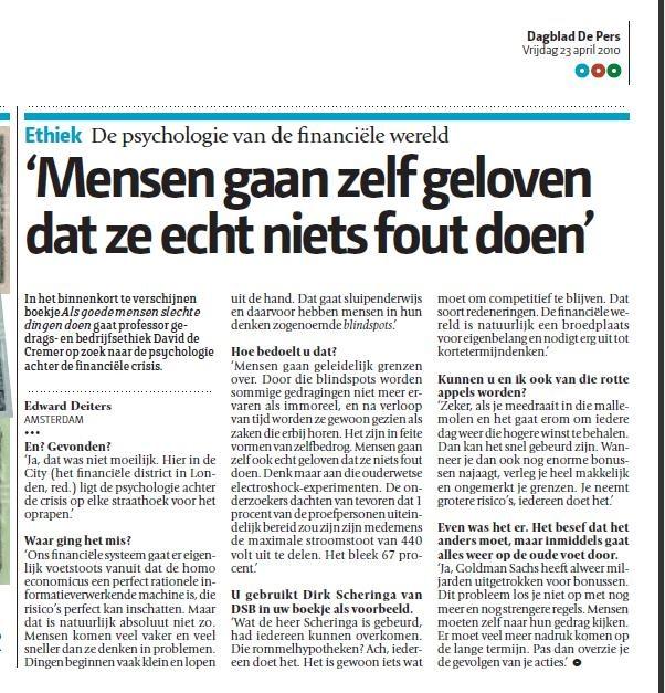 Mooi interview met VOC-auteur David de Cremer. Waarom bankiers denken zoals ze denken.