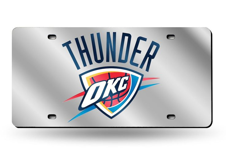 Oklahoma City Thunder Laser Cut Silver License Plate