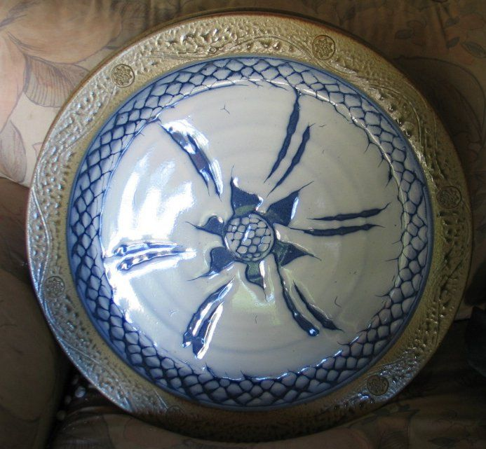 Large Bowl, ash glazed rim, blue and white glazes, wax resist, cone 10 reduction