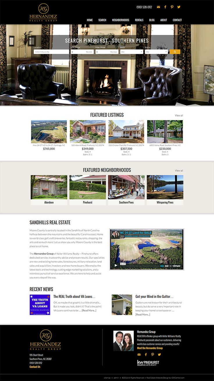 "North Carolina - View REALTORS Pete and Rachel Hernandez new responsive real estate website built from our semi custom website design called ""San Francisco."" http://www.rachelhernandezrealtor.com. Learn about our real estate Wordpress themes at www.IDXCentral.com #realtors #realestate #realestatewebsite"