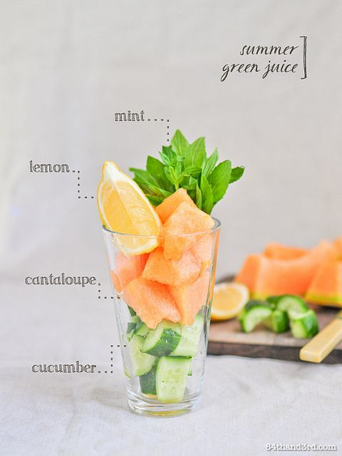 Cantaloupe, Cucumber & Mint Green Juice:•cantaloupe [rockmelon], cubed •cucumber, chopped •handful fresh mint •fresh lemon juice •ice cubes, optional