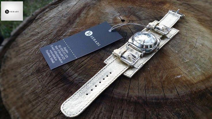 Curea pentru ceas din piele naturala 1 -auriu deschis -protectie pentru spatele ceasului -catarame metalice argintii cu pietre  PRET: 100 lei