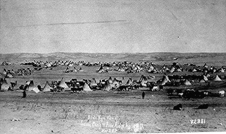 Bird's eye view of Sioux camp at Pine Ridge, South Dakota.  Photographed by G. E. Trager, November 28, 1890.