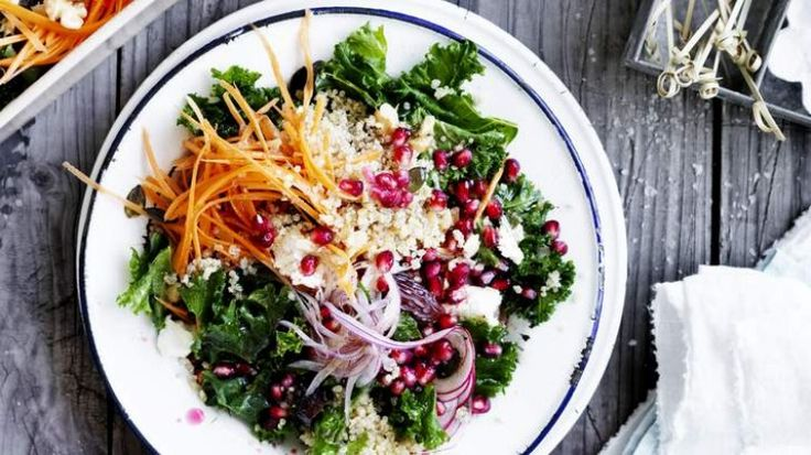 Massaged kale salad with quinoa, date and pomegranate