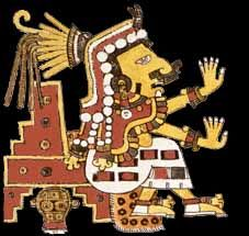 """In Aztec mythology, Chantico (""""she who dwells in the house"""") was the goddess of fires in the family hearth and volcanoes. She broke a fast by eating paprika with roasted fish, and was turned into a dog by Tonacatecuhtli. She also wears a crown of poisonous cactus spikes, and takes the form of a red serpent."""