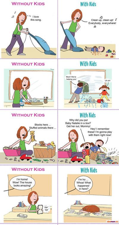 cleaning...without kids vs. with kids