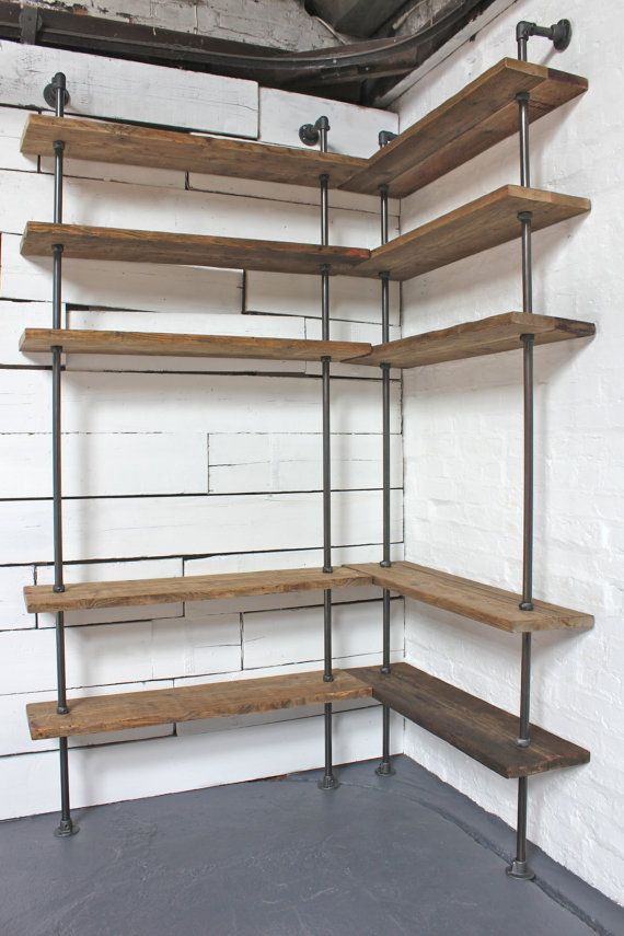 Bespoke Dark Oak Stained Reclaimed Scaffolding Boards And Steel Pipe Floor Wall Mounted Corner Shelving Unit Its Salvaged Vintage
