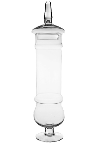 "Candy Buffet Jars :: Apothecary Jar - Clear, High-15"", Open Diameter-3.5"", Base Diameter-4""."