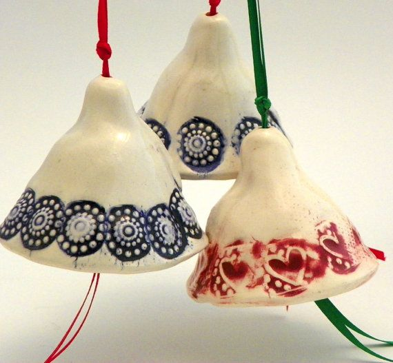 Christmas Ornaments Ceramic Handmade Bells Set of Three Red and Blues
