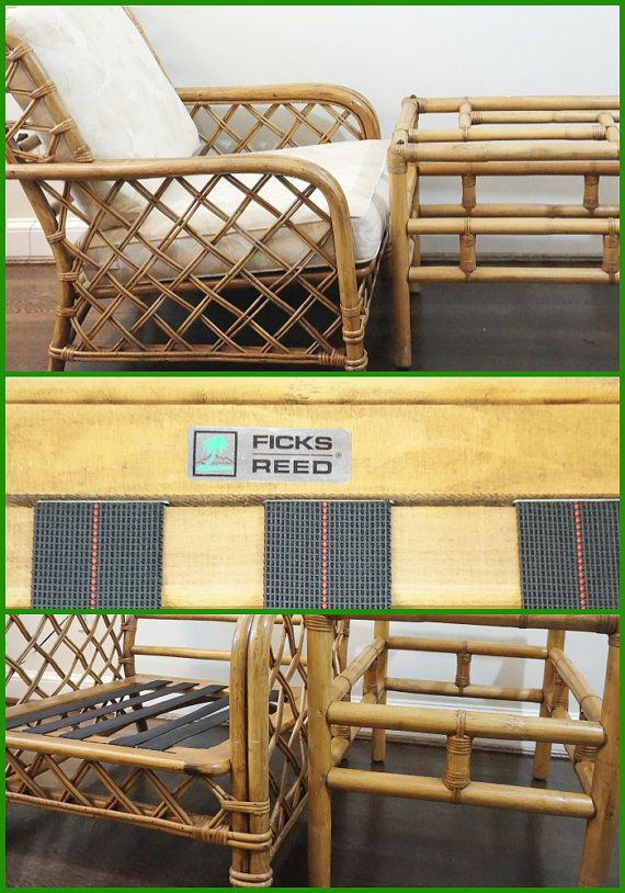 O N S A L E Signed Ficks Reed Bamboo Rattan Club Chair