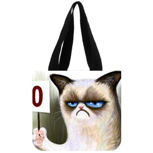 Saco de lona moda personalizado irritados Cat Tard o mal-humorado gato sacola 02(China (Mainland))