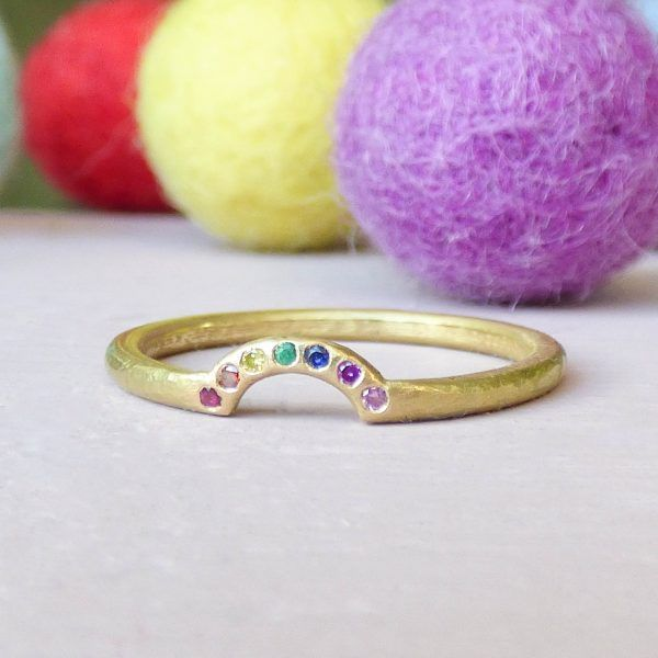 Rainbow Chakra ethical engagement ring, 18ct Fairtrade Gold