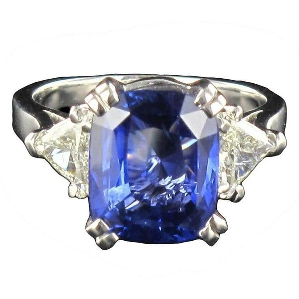 6.27 Carat Cushion Sapphire Trillion Cut Diamond Gold Ring ($35,190) ❤ liked on Polyvore featuring jewelry, rings, blue, 18k gold ring, sapphire ring, 18k diamond ring, antique rings and yellow gold diamond ring