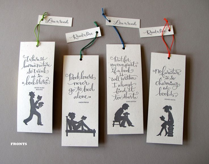 Set 4 Letterpress Bookmarks Names Calligraphy And Love