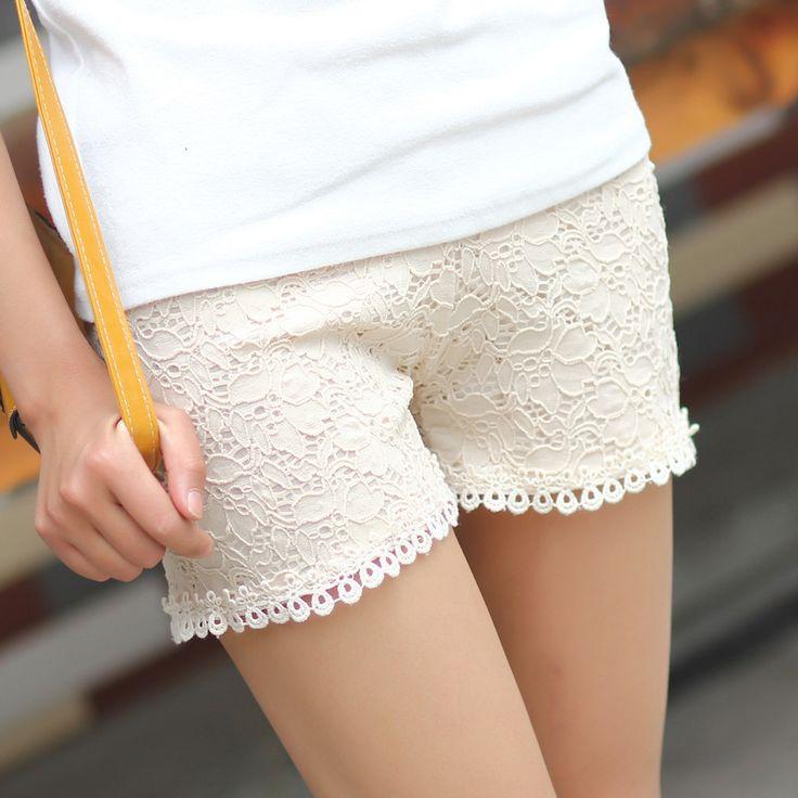 Mulheres de verão de cetim confortável malha de algodão rendas de croché shorts K0001 em Shorts de Roupas e Acessórios no AliExpress.com | Alibaba Group