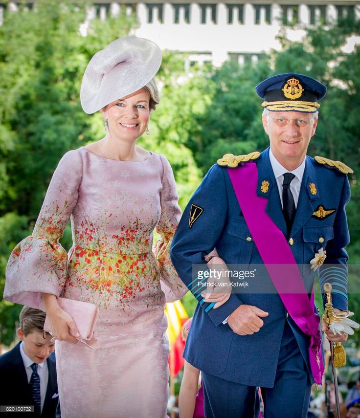 King Philippe of Belgium and Queen Mathilde of Belgium attend the Te Deum mass on the occasion of the Belgian National Day in the Cathedral on July 21, 2017 in Brussels, Belgium. (Photo by Patrick van Katwijk/Getty Images)
