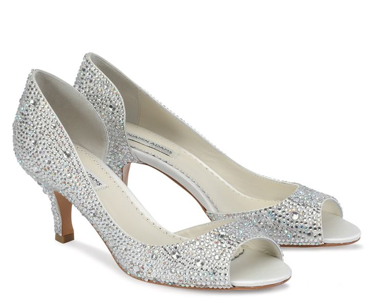 Divine by Benjamin Adams  6 cm Low heel peep toe with gorgeous side cut out. Fully adorned with sparkling ab and clear crystals