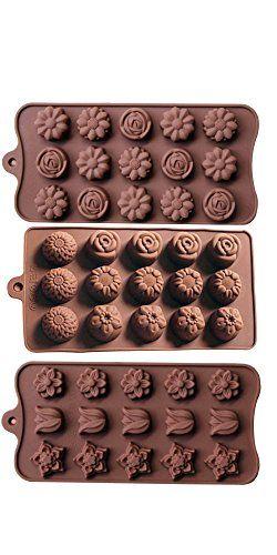 Minchsrin Non Stick 3pc Candy Molds, Chocolate Molds, Silicone Molds, Soap Molds, Silicone Baking Molds-3pc Value Set-sunflower Rose Tulip Flower Chrysanthemum
