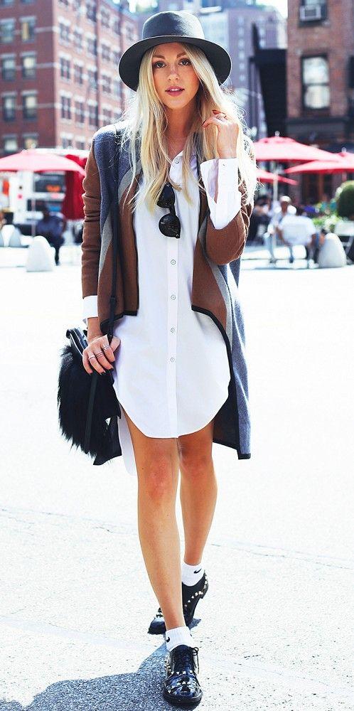 Shea Marie of Peace Love Shea wears a hat, shirt dress, sweater and flats // #NYFW