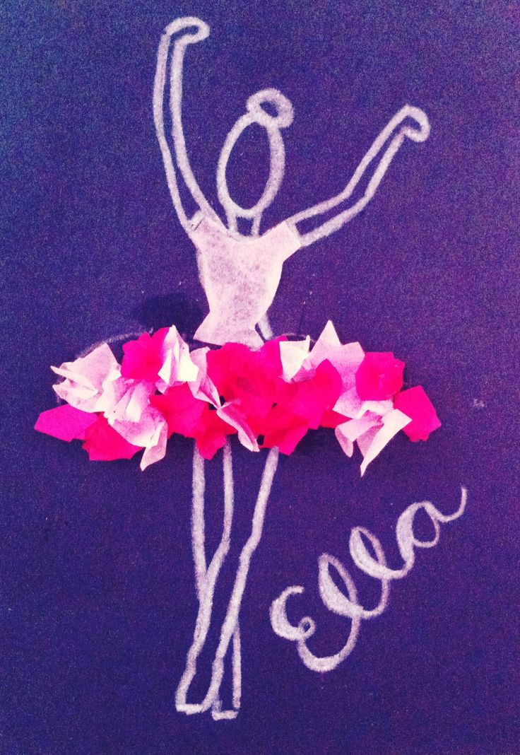 Ballerina Craft! Black construction paper, white crayon, tissue paper!! Voila!!