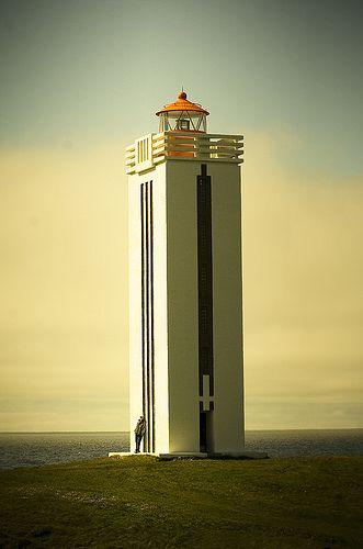 Beautiful art nouveau style lighthouse in Kálfshamarsvík, Iceland, by Vilhjálmur Ingi Vilhjálmsson.