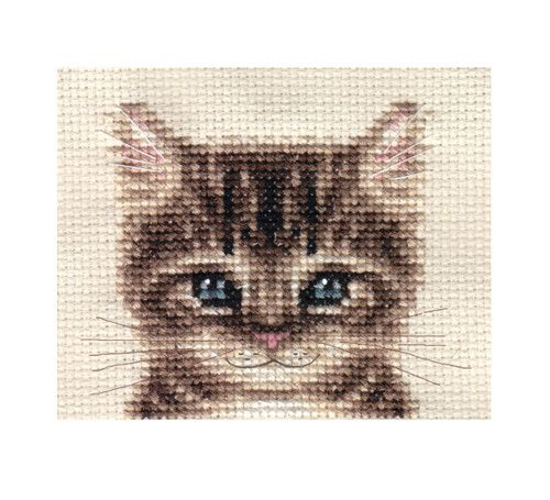 "Tabby CAT Kitten Counted Cross Stitch KIT. Fido Stitch Studio.  Tabby kitten portrait.  Stitched design size: 2¾"" x 2¾"" / 7.5 x 7.5 cm  14 count Zeigart aida fabric Pre-sorted Anchor embroidery threads Needle Easy to read b/w symbol chart and full sewing instructions. N.B. Not recommended for children under 7 years of age http://www.ebay.com.au/itm/TABBY-CAT-KITTEN-Full-counted-cross-stitch-kit-/270949200222?pt=UK_Crafts_CrossStitch_RL=item3f15d4b15e&_uhb=1"