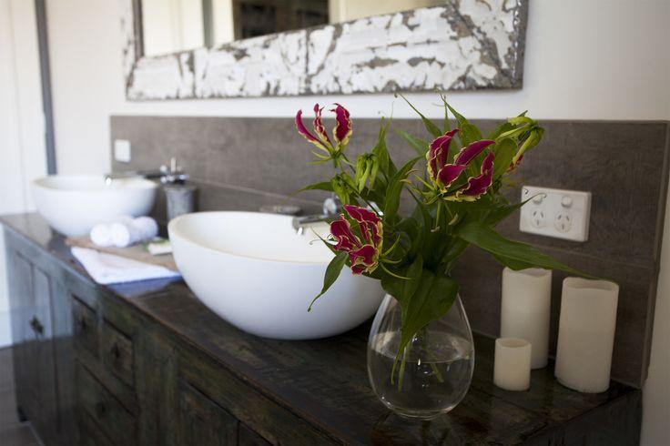 #bathroom #beautiful #rustic #tuscan #farmhouse #natural #wood #yarravalley #accomodation